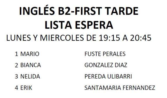B2 FIRST LISTA ESPERA